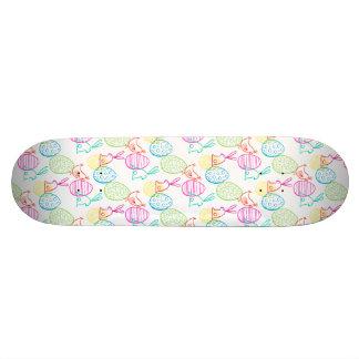 Easter chicken bunny sketchy illustration pattern skate board