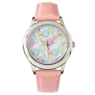 Easter chicken bunny sketchy illustration pattern watch
