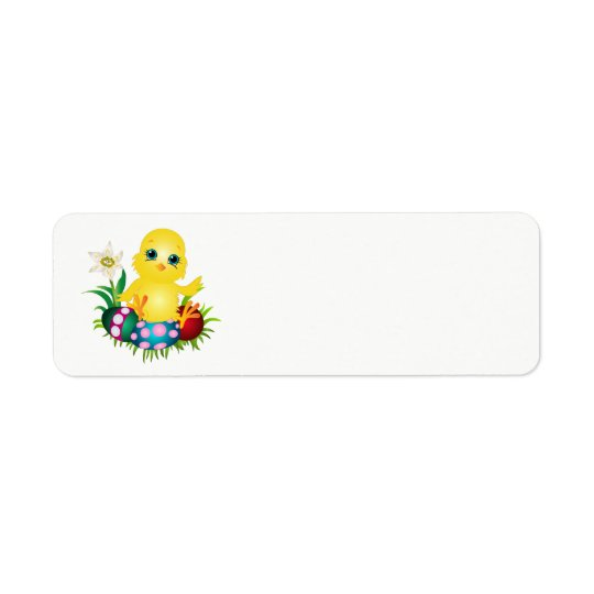 Easter Chicken with colourful eggs Return Address Label