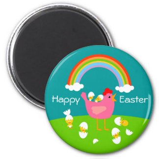 Easter chicks and hen 2 inch round magnet