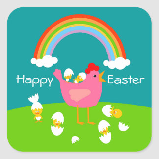Easter chicks and hen square sticker