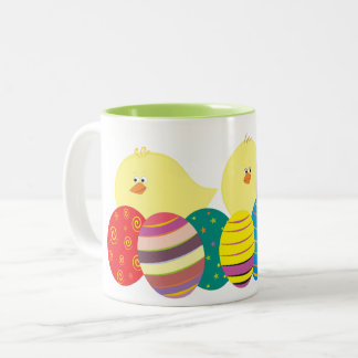Easter Chicks Cute Cartoon Eggs Colorful Bright Two-Tone Coffee Mug
