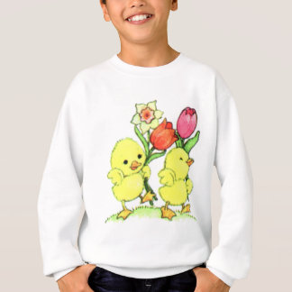 Easter Chicks With Flowers Sweatshirt