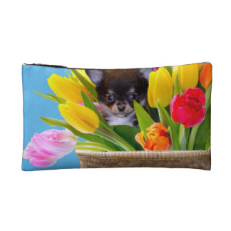 Easter Chihuahua dog Makeup Bag