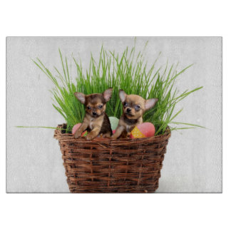 Easter Chihuahua puppies Cutting Board