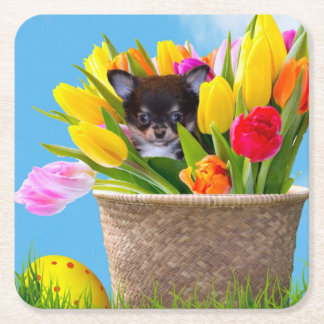 Easter chihuahua puppy beverage coasters