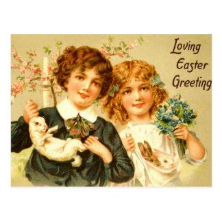 Easter Children Bunnies Antique PostCard Nostalgic