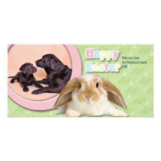 Easter - Chocolate Labradors Customized Photo Card