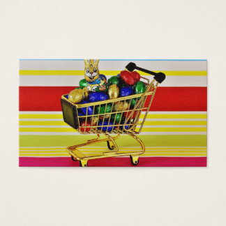 Easter Chocolate Shopping Cart Candy Happy Bunny Business Card