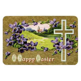 Easter Church Service and Violets Magnet