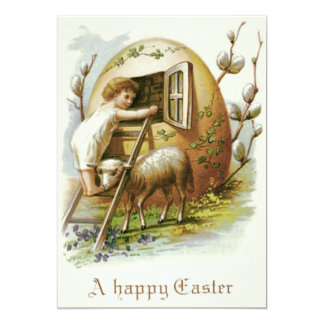 """Easter Colored Egg Lamb Forget-Me-Not 5"""" X 7"""" Invitation Card"""