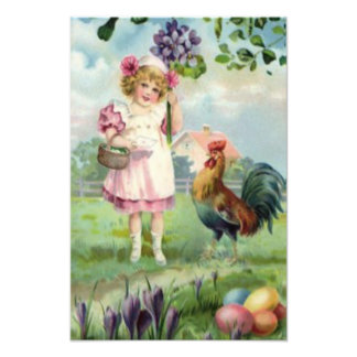 Easter Colored Painted Egg Rooster Daisy Photo Art