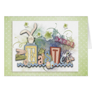 "Easter - ""Country Bunny"" - Customize Greeting Card"