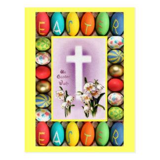 Easter - Cross amongst lilies Postcard