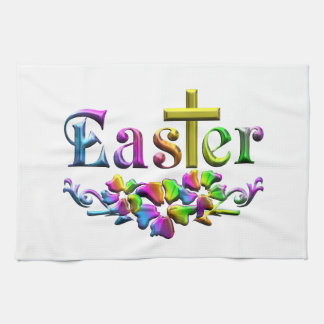Easter Cross and Flowers Kitchen Towel