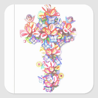Easter Cross Butterflies Cherubs Mexican Tradition Square Sticker