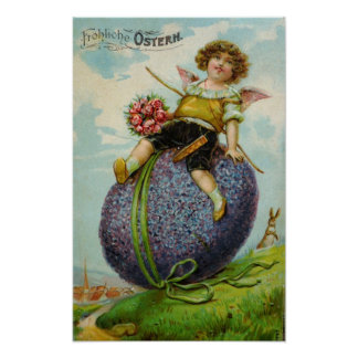 Easter Cupid on Egg Poster