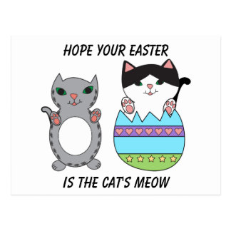 Easter Cute Kitty Cats Easter Egg Personalize Postcard