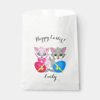 Easter Cutie Grey and Pink Kittens Cartoon Favour Bag