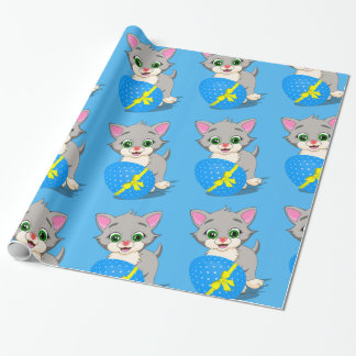 Easter Cutie Grey Kitten Cartoon Wrapping Paper