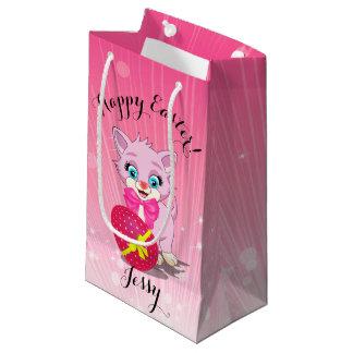 Easter Cutie Pink Kitten Cartoon Small Gift Bag