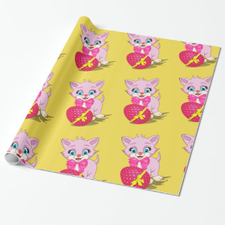 Easter Cutie Pink Kitten Cartoon Wrapping Paper