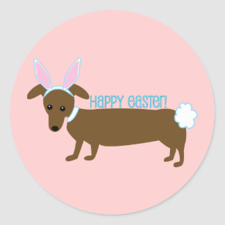 Easter Doggie Classic Round Sticker