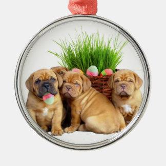 Easter Dogue de Bordeaux puppies Silver-Colored Round Ornament