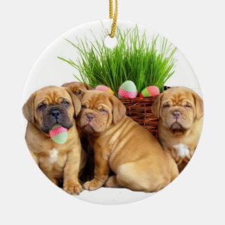 Easter Dogue de Bordeaux pups Round Ceramic Ornament