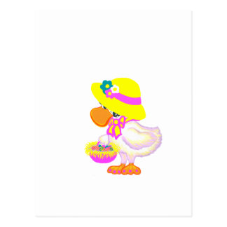 Easter Duck with Bonnet and Basket of Eggs Postcard