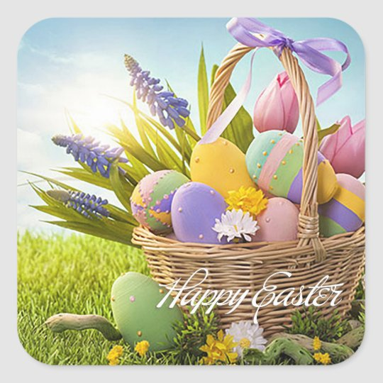 "Easter - ""Easter Basket"" Square Sticker"