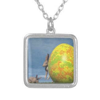 Easter egg - 3D render Silver Plated Necklace