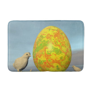 Easter egg and chicks - 3D render Bath Mat
