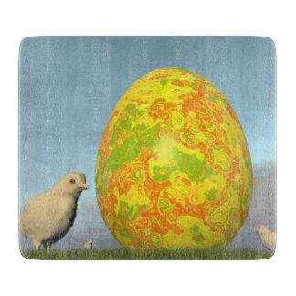 Easter egg and chicks - 3D render Cutting Board