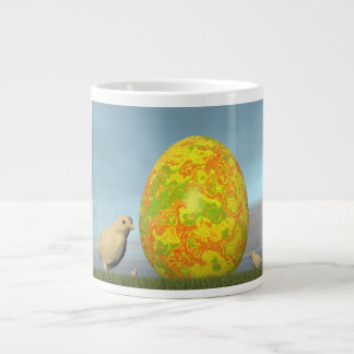 Easter egg and chicks - 3D render Large Coffee Mug