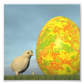 Easter egg and chicks - 3D render Photo Print