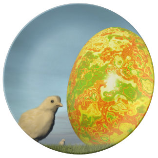 Easter egg and chicks - 3D render Plate