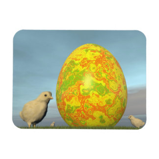 Easter egg and chicks - 3D render Rectangular Photo Magnet