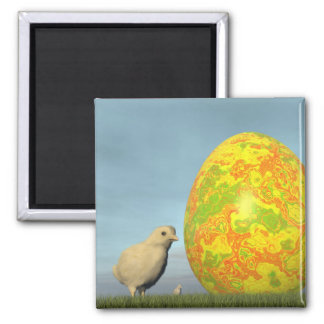Easter egg and chicks - 3D render Square Magnet