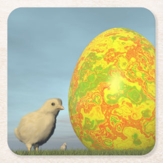 Easter egg and chicks - 3D render Square Paper Coaster