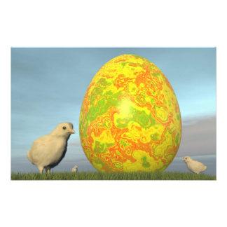 Easter egg and chicks - 3D render Stationery