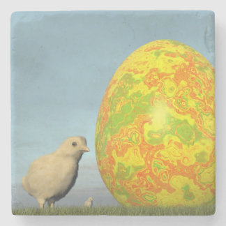Easter egg and chicks - 3D render Stone Coaster