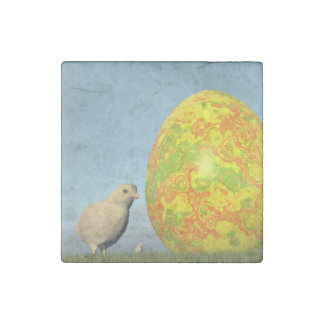 Easter egg and chicks - 3D render Stone Magnets