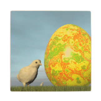 Easter egg and chicks - 3D render Wood Coaster
