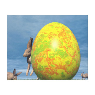 Easter egg and hare - 3D render Canvas Print