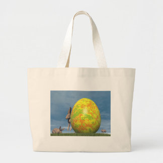 Easter egg and hare - 3D render Large Tote Bag