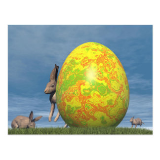 Easter egg and hare - 3D render Postcard
