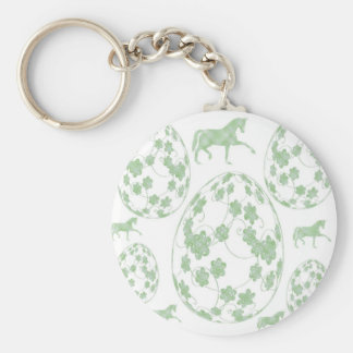 Easter egg and horse basic round button keychain