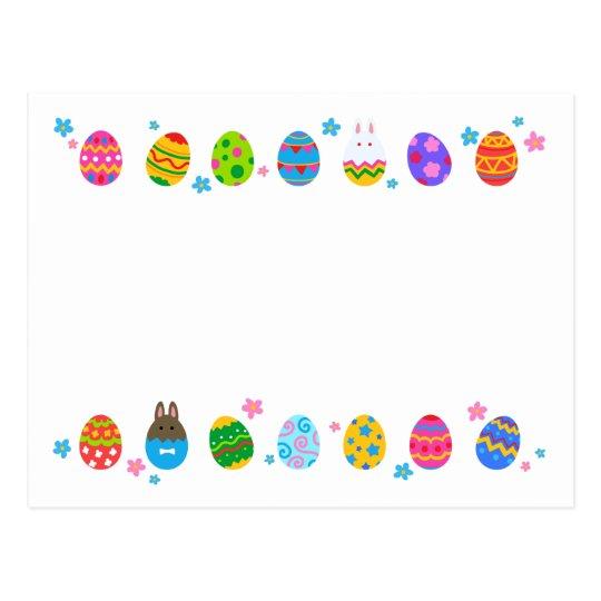 < Easter egg and rabbit side line > Easter Eggs & Postcard