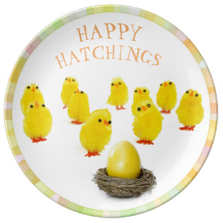 EASTER EGG AND YELLOW CHICKS, HAPPY EASTER PLATE